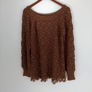 Vintage women's chocolate brown long sleeve crochet knit top size M